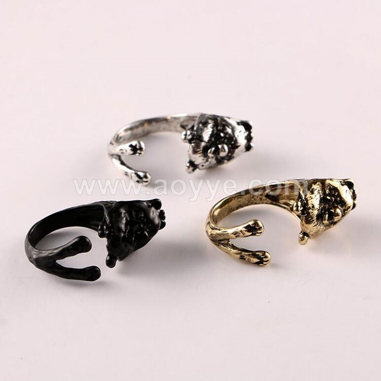 Wholesale fashion custom metal handmade men animal lion head finger ring