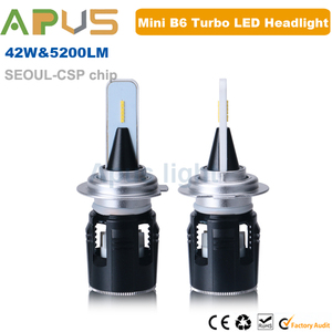 Mini size Seoul CSP 5200LM B6 turbo cool fan long lifespan h7 led headlight bulb