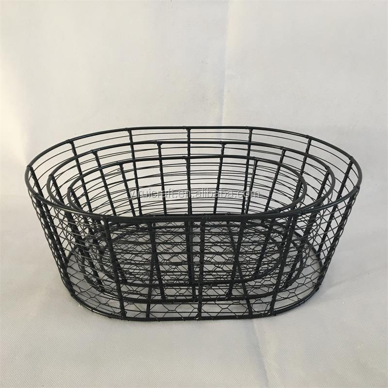 2018 china suppliers best selling household multifunction iron storage metal wire basket iron basket set of 3