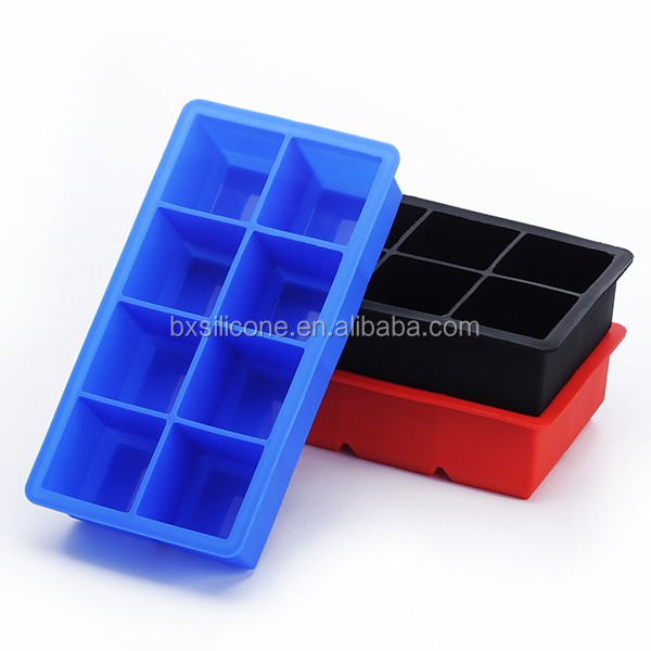 DIY easy square shape 8 cavity big silicone ice cube tray,silicone ice maker mold,cake mold