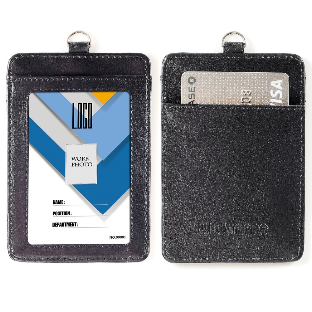 5 STÜCKE PU Leder Vertikale ID Badge Kartenhalter mit abnehmbarem Lanyard //