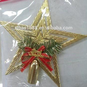 new design christmas ornaments for golden star for christmas tree top five star decoration