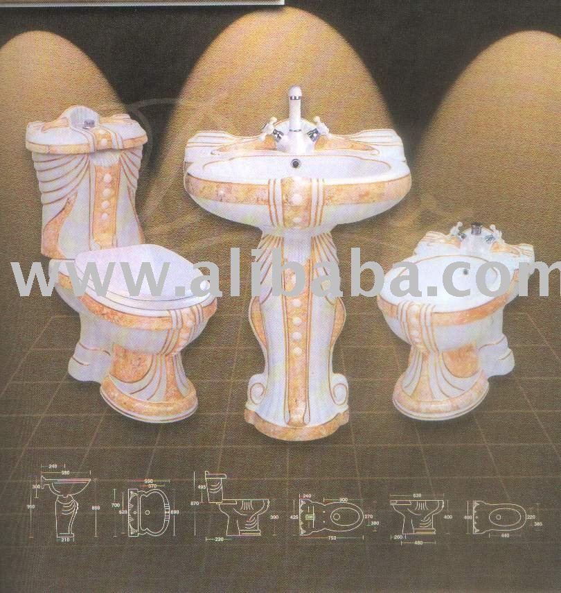 Mumtaz Bathroom Set Decorated Yellow Decore Buy Ceramic Decorated