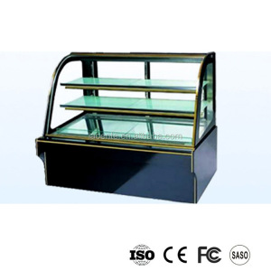 Curved glass door cake display showcase chiller,cake refrigerator