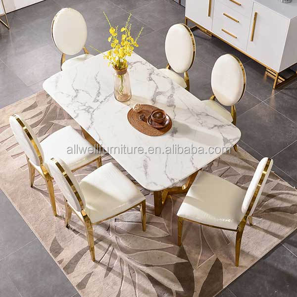 Luxury stainless steel frame stainless steel dinner table chairs