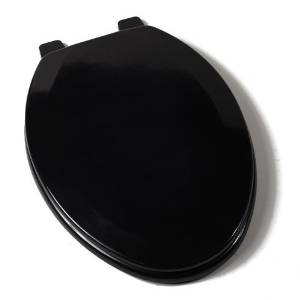 Comfort Seats C1B4E290 Deluxe Molded Wood Toilet Seat, Elongated, Black by Comfort Seats