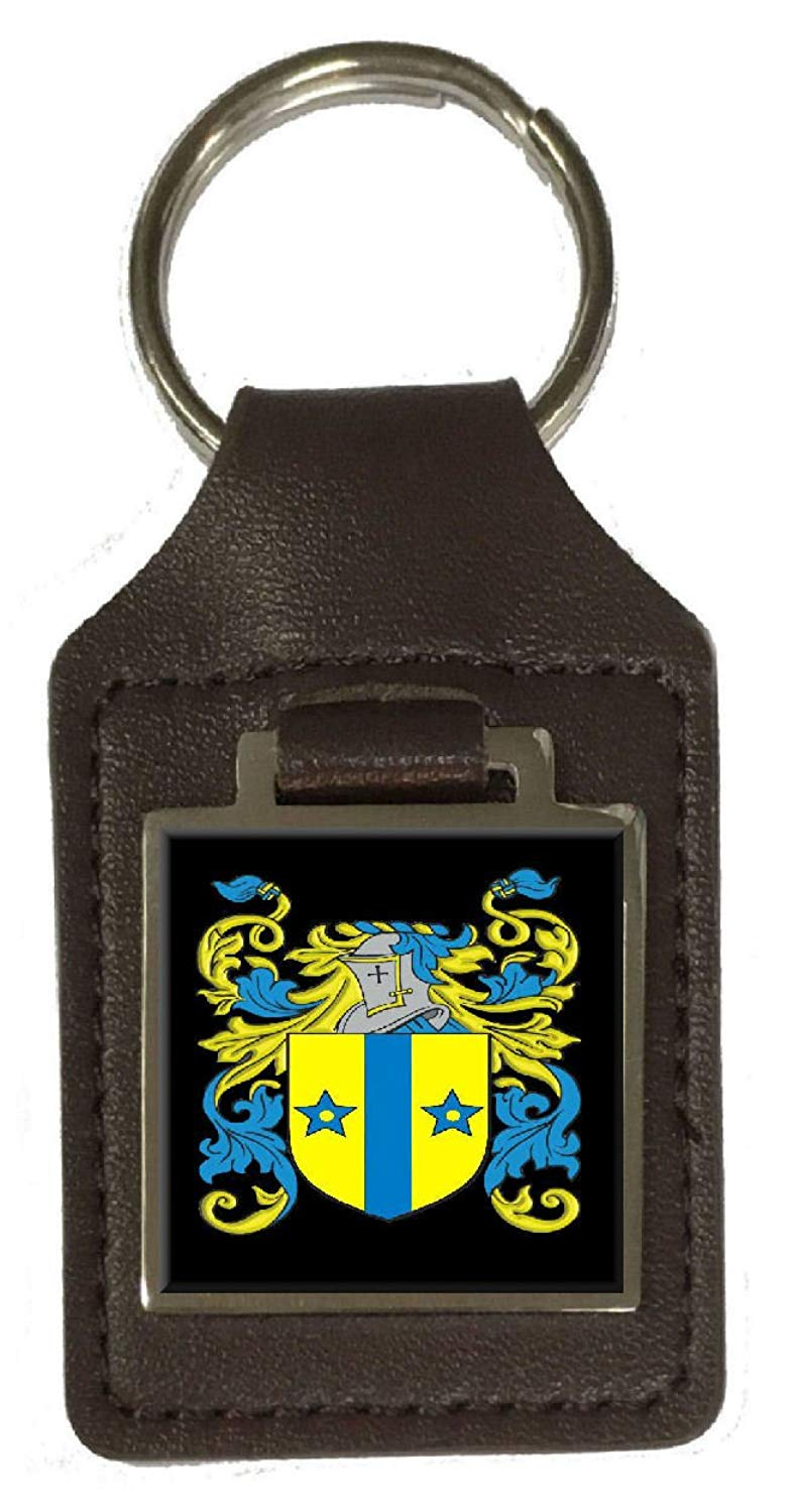 Fetherstonhaugh Family Crest Surname Coat Of Arms Brown Leather Keyring Engraved