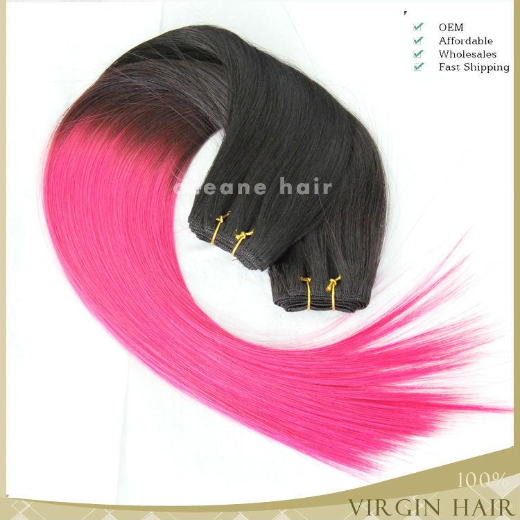 Factory Wholesale Ombre Pink Weave Hair100 Human Brazilian Virgin