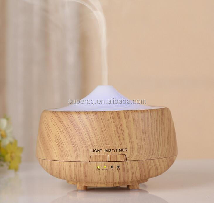 250 ml wood grain ultrasonic cool mist maker fashion design air purifier/humidifier/aroma diffuser with colors changing light