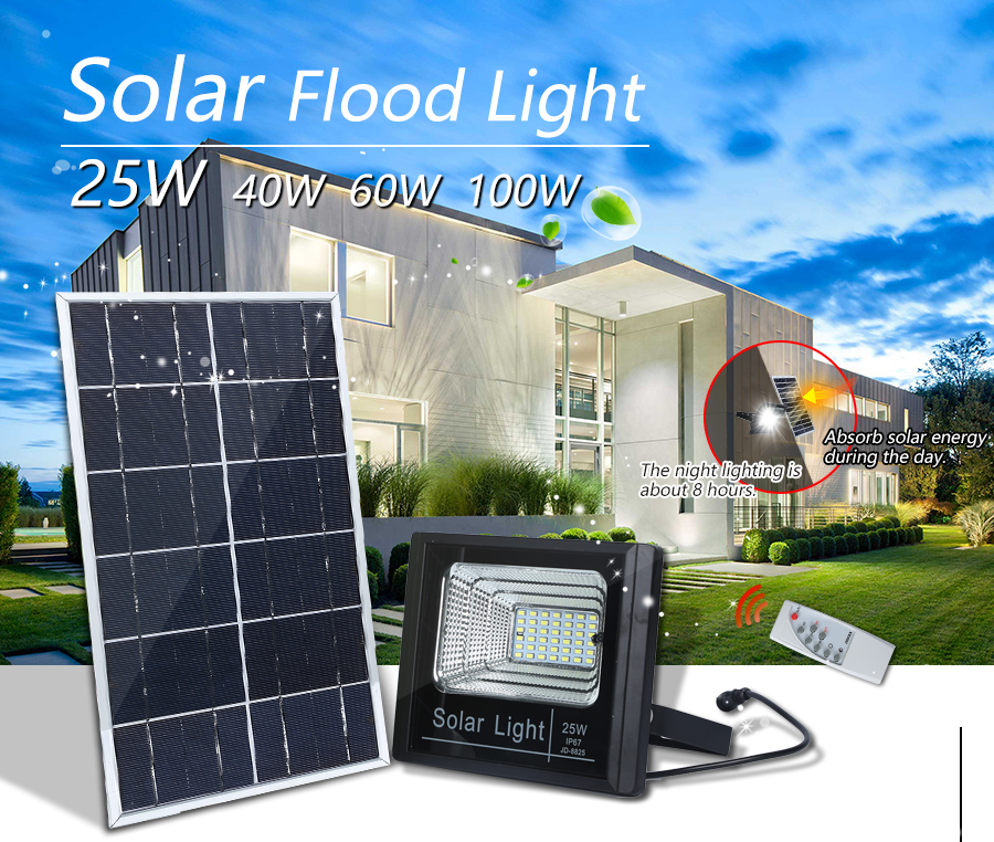 High lumen Aluminum tempered glass 25w 40w ip67 outdoor waterproof solar led flood light