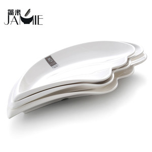 100% melamine leaf shaped plastic dish ,banana leaf shaped dinner dishes and plates