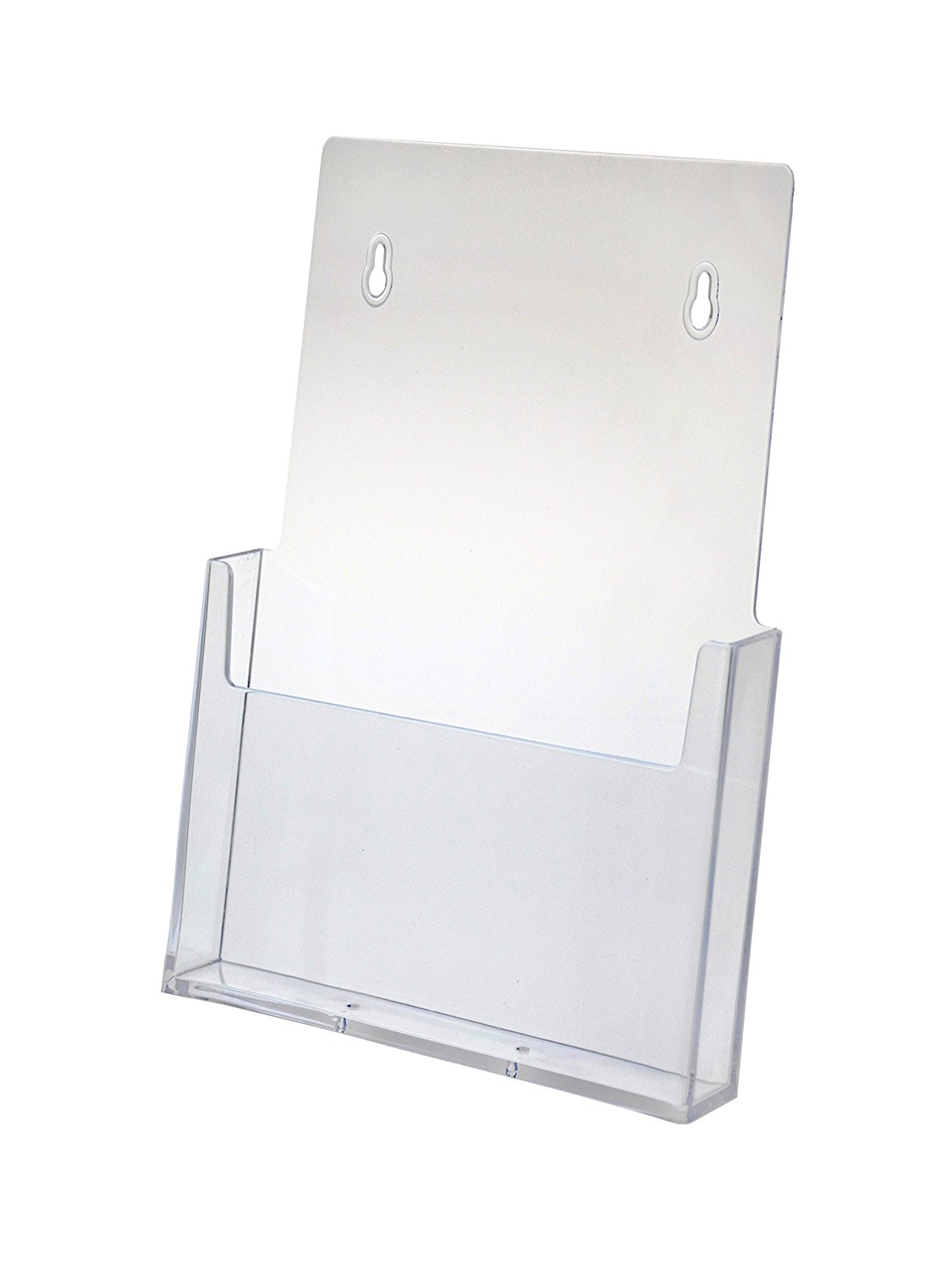 Marketing Holders Brochure Holder for 8.5 X 11 Literature, Clear Acrylic, Single Pocket, Slant Back Wall Mount Design - Sold in Lots of 10