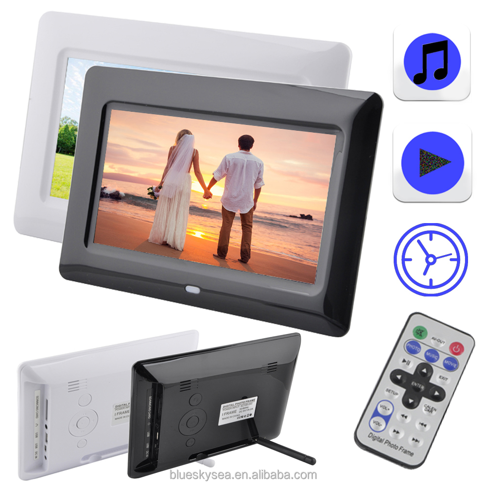 Digital Photo Frame 7inch LCD Picture Album Black MP3 Movie With Remote Control