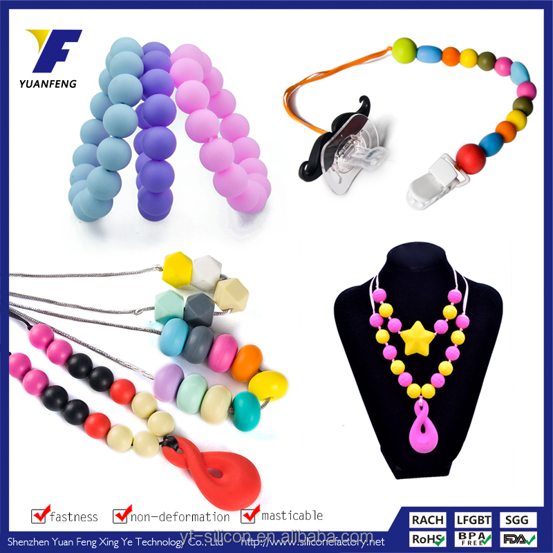 silicone beads jewelry custom baby teething necklace/bracelet /pendant wholesale