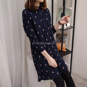 the new2017 spring big code printing lady dress in long shirt collar easy leisure dress