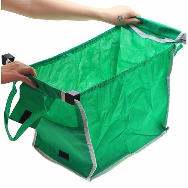 กระเป๋าช้อปปิ้งสีเขียวที่เป็นมิตรกับสิ่งแวดล้อม Mulit 80g ถุงผ้าไม่ทอสำหรับรถเข็นซุปเปอร์มาร์เก็ต