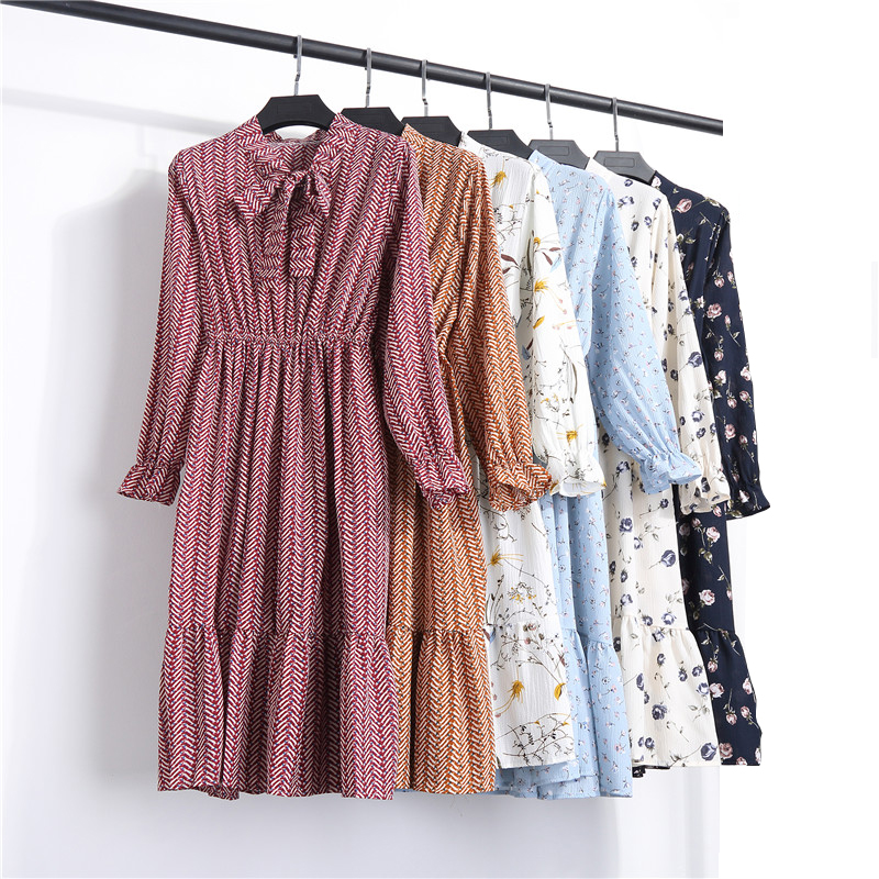 2018 New Arrival Retro Long Sleeve Floral Chiffon Women <strong>Dress</strong>