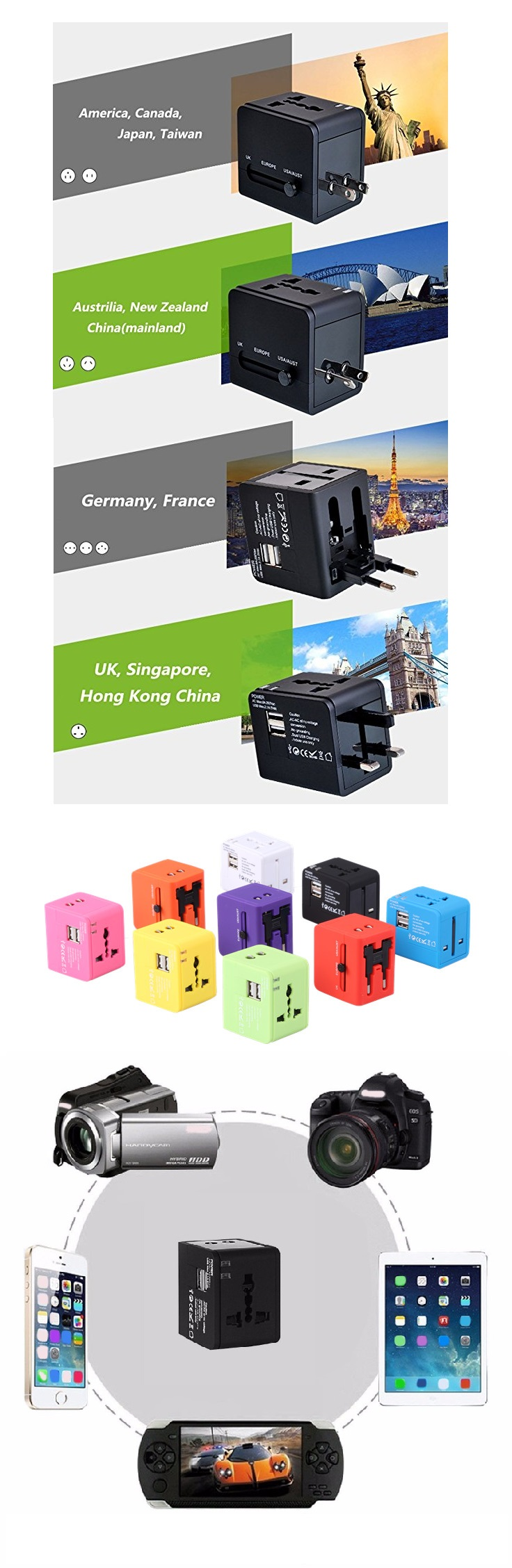 All in one world travel ac dc 5v 2a power adapter charger for USA Australia Europe UK smart multi electric plug