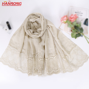 Malaysia Cotton Solid Color Head Scarf Plain Lace Stitching Women Hijab