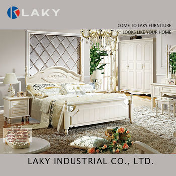 605 Luxury Royal Neoclassic Solid Wood Bedroom Furniture Perl White