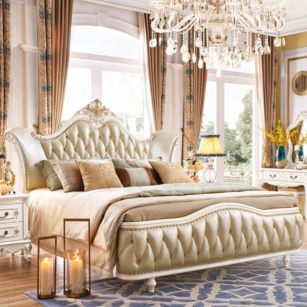 2018 new model french style wooden bed bedroom furniture