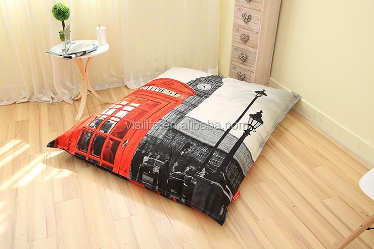 Ben Pencetakan Kursi Sofa Bed Bean Bag Furniture Ruang Tamu Lembut Bantal Besar
