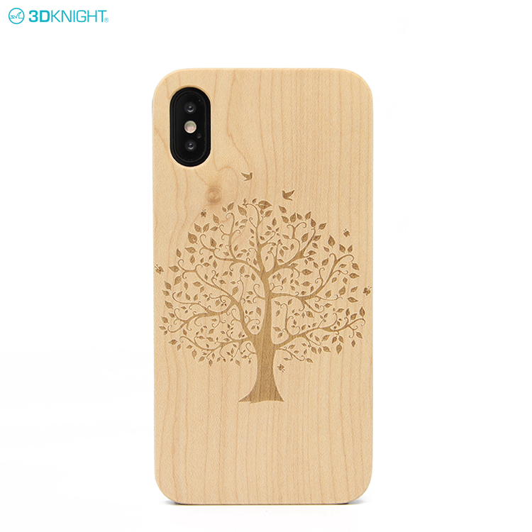 Factory Custom Laser Engraved Ultra Slim Real Wood And PC Phone Case For iPhone X