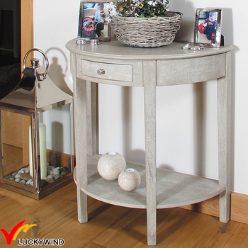 Gentil French Vintage Solid Wood Half Moon Console Table