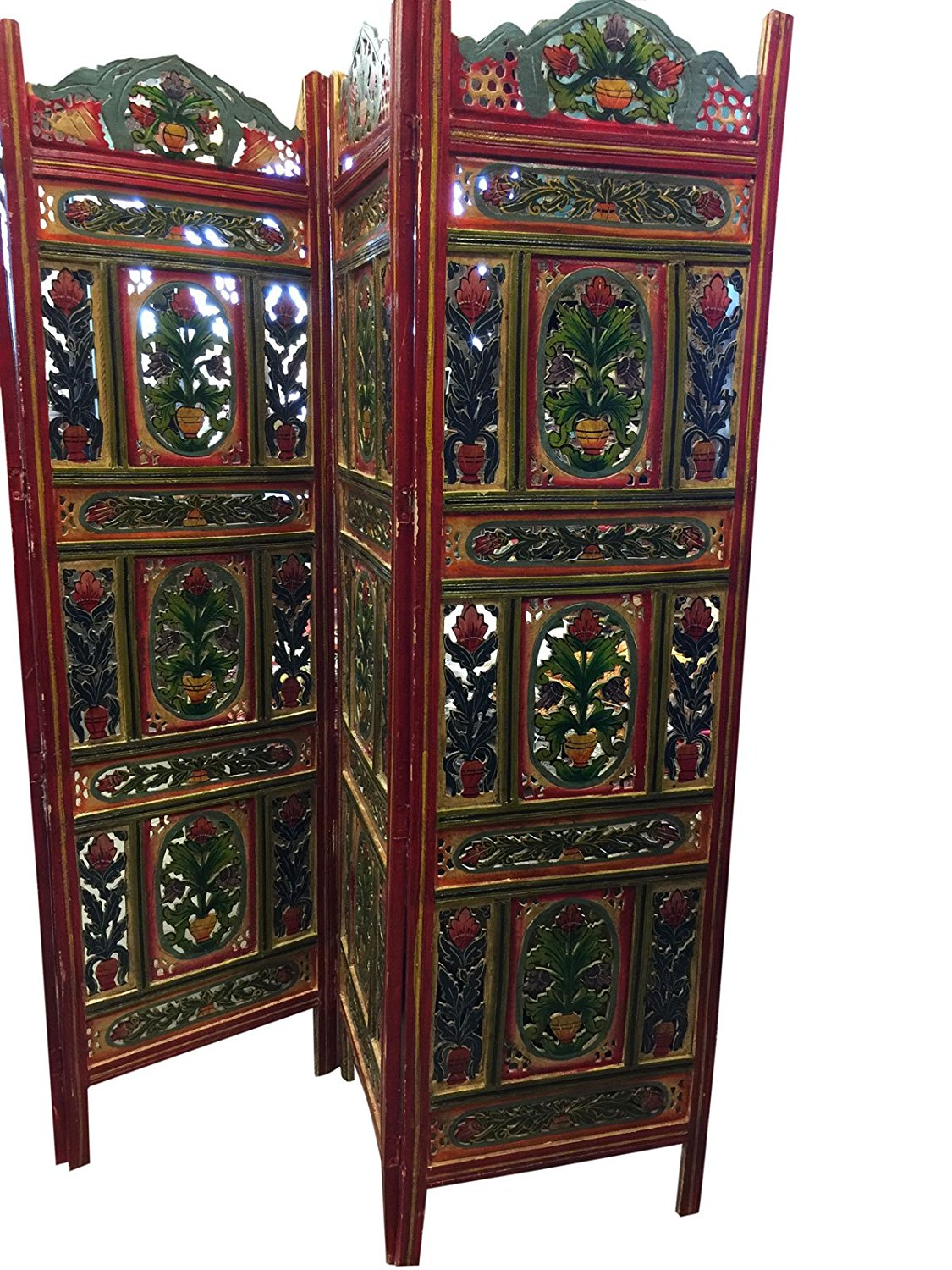Get Quotations Mogulinterior Vintage Hand Carved Painted 4 Panel Fl Handcrafted Wood Room Divider Screen From Jaipur