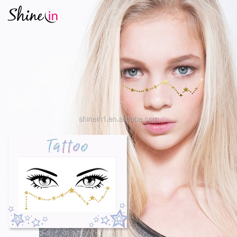 6e1041c98f315 Shinein New Design Body Art Constellation Flash Face Sticker Temporary Face  Gold Metallic Tattoo