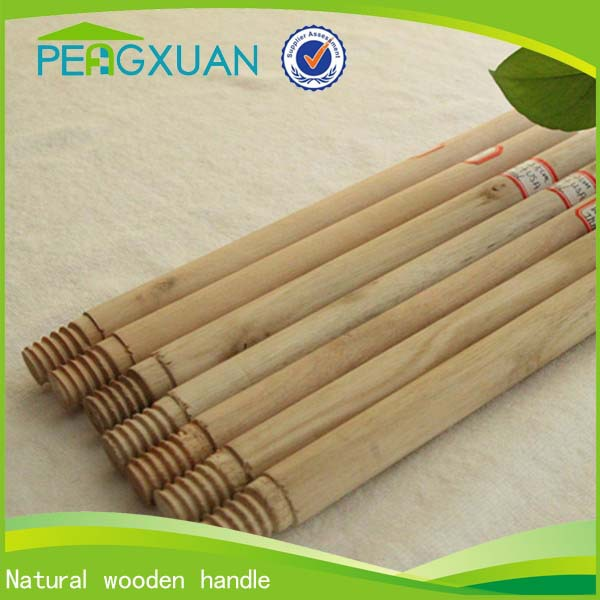 new industrial round natural wooden dust mop handle with metal thread
