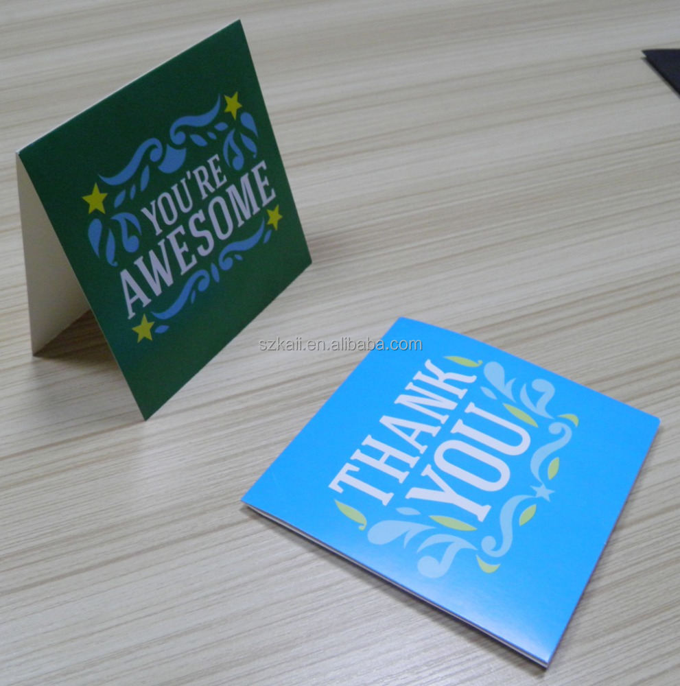 custom size smart printing design thank you card with envelope high quality factory in China