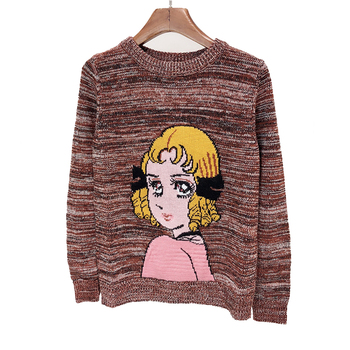 Custom Design Wool Fine Yarn Pretty Girl Computer Knitted Intarsia Ladies Sweater