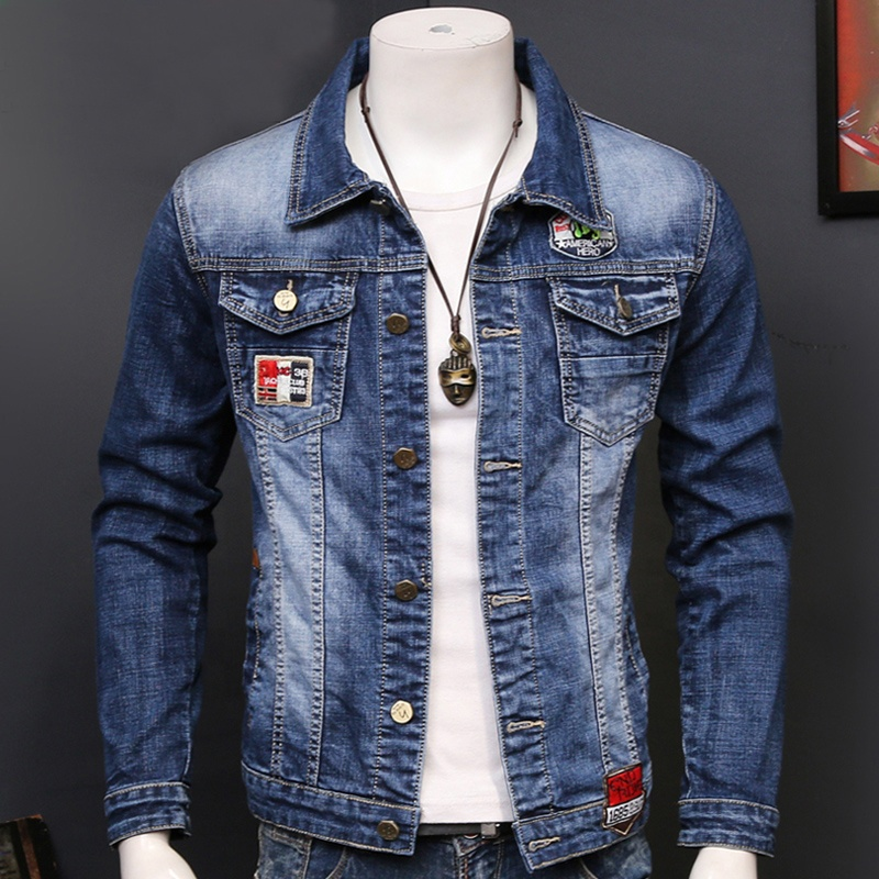 Guangzhou factory blue vintage style cropped business denim jacket for men