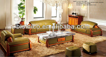 Genial Green Color Modern Style Luxury Thick Leather Sofa Set With Coffee Table  For Living Room