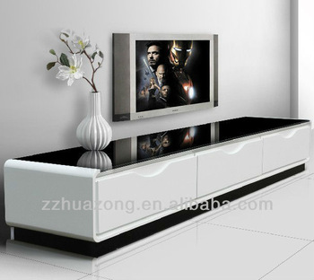 Modern White High Gloss Mdf Tv Stand With Tempered Gl