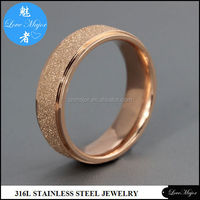 2012 rose gold sand blasting stainless steel ring of fashion jewelry wedding band