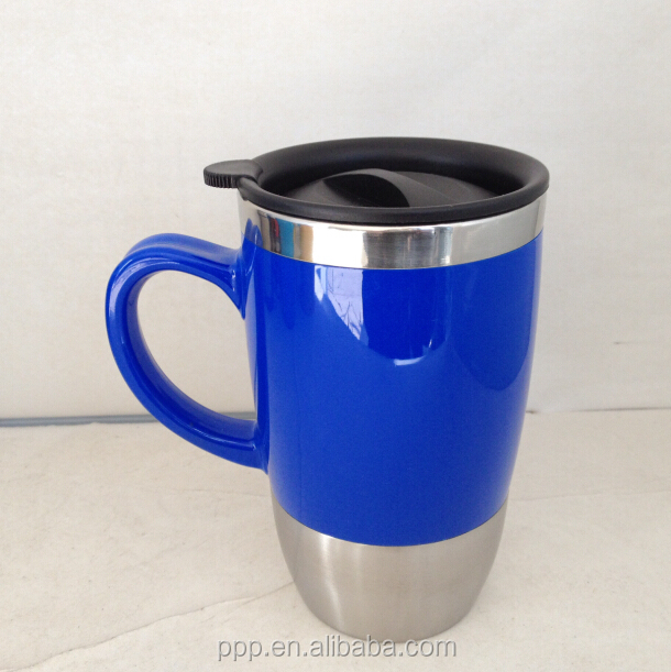 53fb804df76 16oz Stainless Steel Sublimation Mug/blue Coffee Cup With Handle/flip-on  Cover Lid Tumbler - Buy 16oz Stainless Steel Sublimation Mug,Blue Coffee  Cup ...