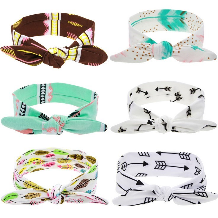 wholesale Baby Girls Rabbit Ear Feather Arrow Print Head Wrap Fancy Hair Band
