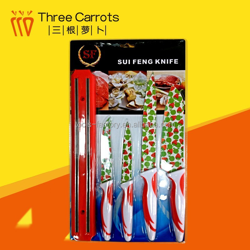 Hot sale 5 pcs patterned kitchen knife set color