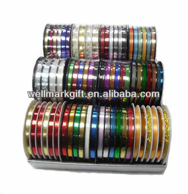 Six Channels 5mm Solid Metallic Curly Poly Ribbon Spool