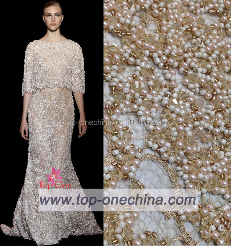 China suppliers french 3d handwork beaded bridal lace tulle lace fabric/3d beaded bridal lace
