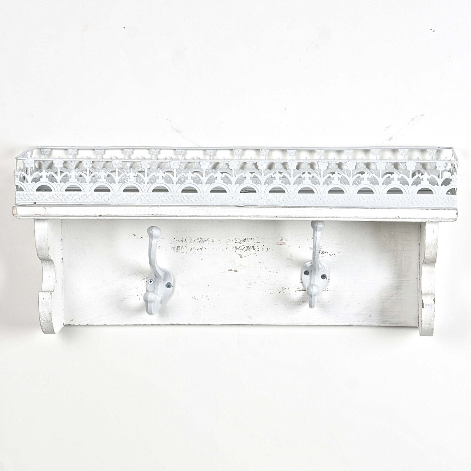 Antique Style Wooden Shelf with Metal Decorative Edge and Hooks -- Washed White