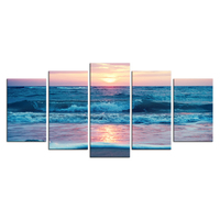5 Panel Wall Art Ocean Seascape Artwork Beautiful Beach Sunset Scene Pictures Paintings for Home Decor