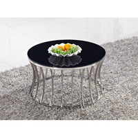 stainless steel round tea table modern coffee table with glass material ID812