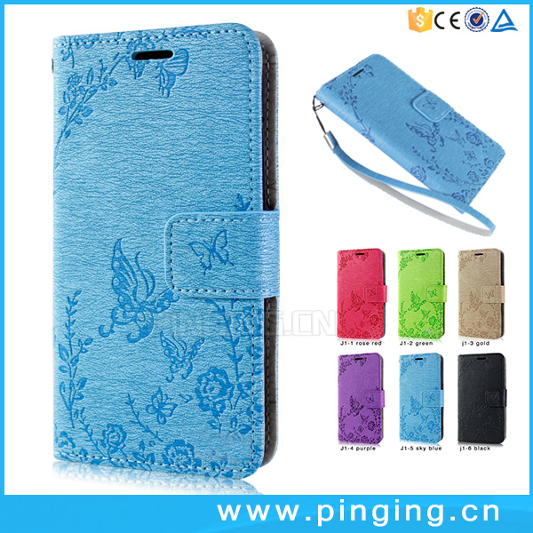 Butterfly Embossed Flip Leather Cover for Alcatel U5