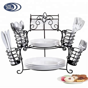 Factory Metal Buffet Organizer 7 Pc can hold dinner, salad or dessert plates rack, and napkins and cutlery holder