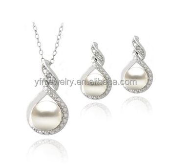 Sterling Silver Freshwater Pearl Necklace Earrings Set Wholesale