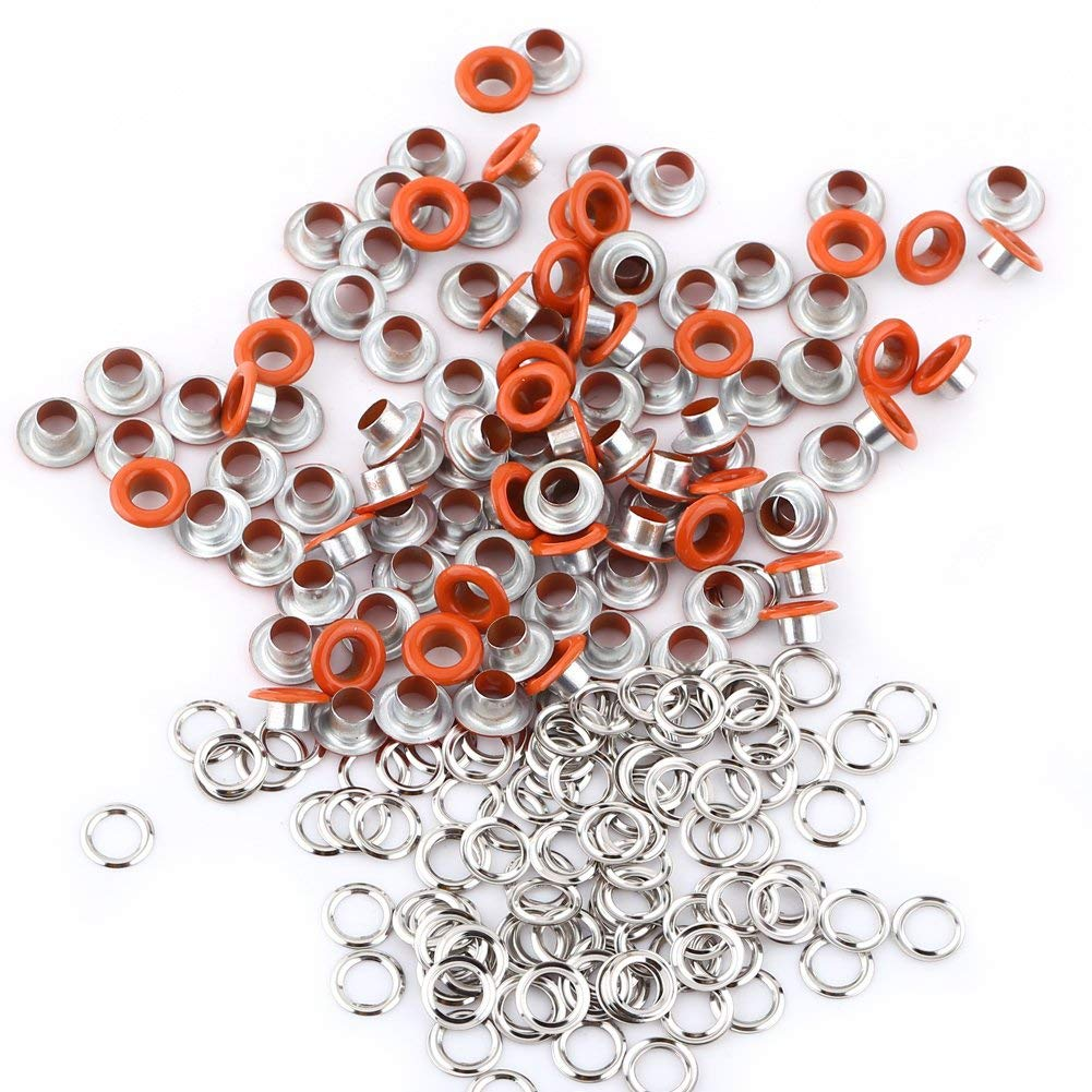 GLOGLOW 100Pcs Mixed Colors 5mm Round Shape Grommets, Scrapbooking Card Making Leather Craft Shoes Clothes DIY Metal Eyelets(Orange)