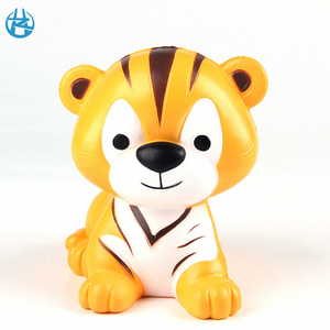 New custom kawaii pu squishies plastic toys tiger animal squishy